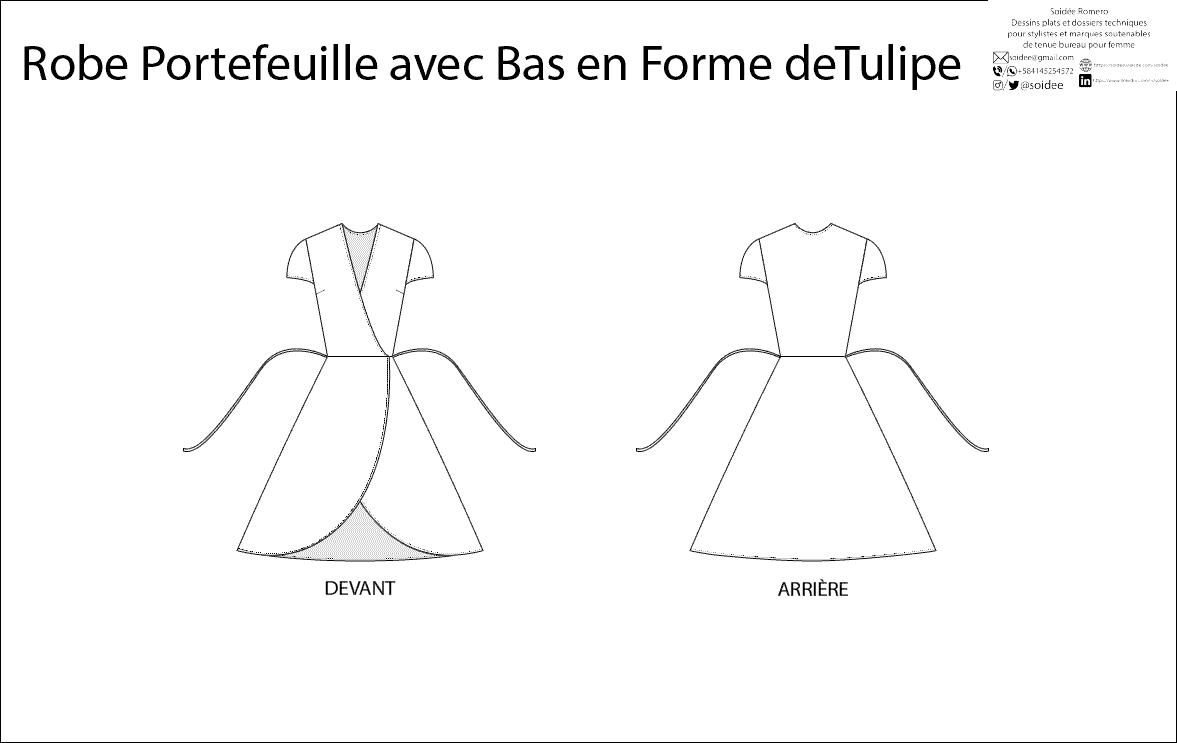 Dessin à plat d'une robe portefeuille avec le bas en forme de tulipe