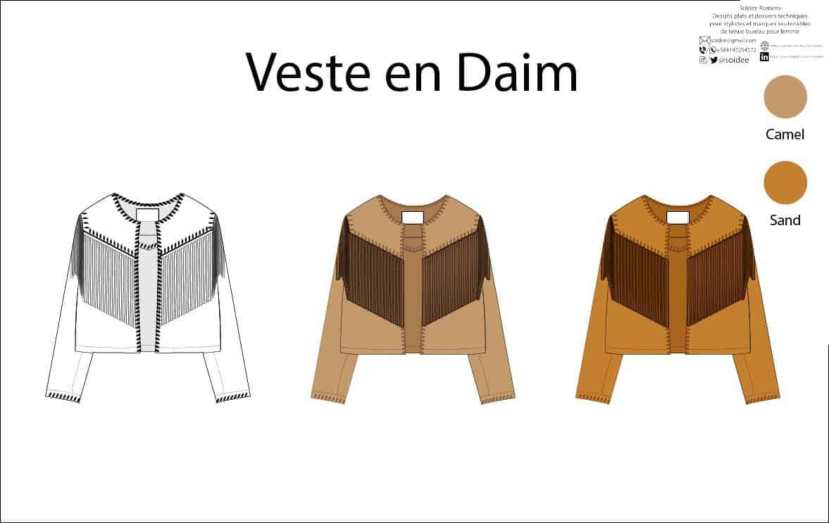 Vue du front d'un dessin á plat en différentes couleurs de veste en daim
